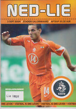 Programme / Programma Holland v Liechtenstein 03-09-2004 friendly
