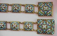 "1880y. RUSSIAN ROYAL IMPERIAL ENAMEL BELT 84"" SILVER STREP GOLD ICON ART JUWELER"