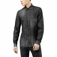 DIESEL D CARRY 0AANP Mens Denim Shirt Long Sleeve Summer Casual Cotton Shirt