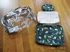 TRINA 4 PIECE COSMETIC CASE SET, CAT THEMED, W/ CLEAR HANDLE CASE