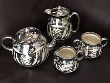 1950s Gibson's English Pottery Teapot, Coffee Pot, Creamer & Sugar Bowl Set
