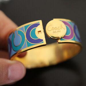 "NEW COACH 95262 OP Art Signature Dot Multi/Gold 3/4"" Hinged Bangle NWT"
