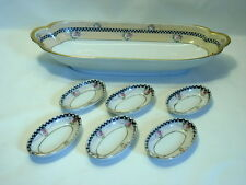 Noritake Celery Dish and 6 Matching Salt Dips