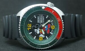 Vintage Seiko Diver's 6309 Mickey Mouse Dial Men Automatic Rotating Bezel Watch