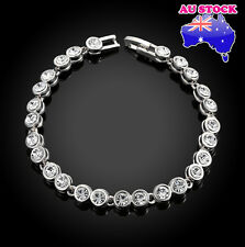 18K White Gold Filled Sliver Tennis Bracelet with Clear Cubic Zirconia Crystal
