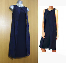 JACQUES VERT Burnout Drape Navy Cocktail Evening Tunic Dress UK10  EU38  £149