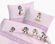 Bettwäsche 100x135 cm Pinguin rosa 27953 Biber