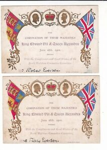 TWO COMPLIMENT CARDS, KE VII & QUEEN ALEXANDRA CORONATION, NORTH WALSHAM, 1902