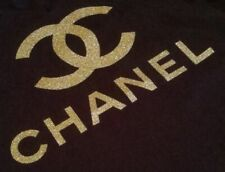 Gold Glitter Iron On logo - heat transfer for t-shirts and other fabric