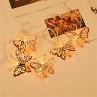 Elegant Butterfly LED Light String Hanging Gold Lamp Tree Festival Decoration