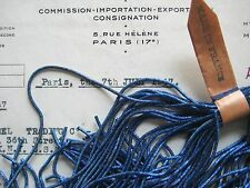 AUTHENTIC FRENCH Vintage Blue Metal Thread Check Purl Bullion Embroidery