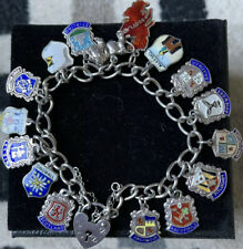 London 1979 Silver Heart Lock Charm Bracelet With 16 Scottish Charms.