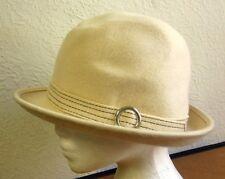 VINTAGE CLOCHE HAT retro white w/ silver buckle Reverse Stitch wool hat Macy's