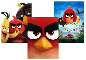 The ANGRY BIRD Red, Black Bomb, Chuck  A5 A4 A3 Textless Movie Posters