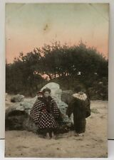 Japanese Hand Colored Beautiful Women on Beach with Babies Postcard E7