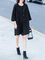 Black Color Based Beaded Floral 7//10 Sleeve Wool Blend Coat 13871 NWT