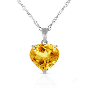 Genuine Citrine 10 mm Heart Gem Pendant Necklace 14K. Yellow, White or Rose Gold