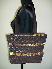 M&S CHOCOLATE BROWN EMBOSSED GOLD SEQUIN TOTE / SHOULDER BAG BNWOT