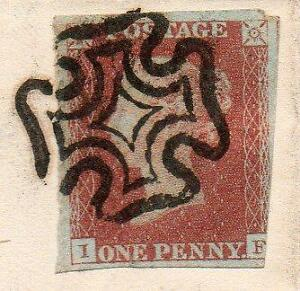 1841 1d Red cover with maltese cross on cover 8th April 1841