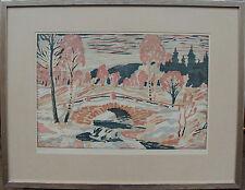 Sven protectores-branzén 1925-2006, puente antiguo, farbholzschnitt 150/500, fechado 1981