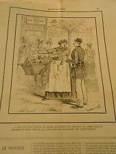 Caricature 1890 - La Marchande des Quatre saisons interdit de stationner ici