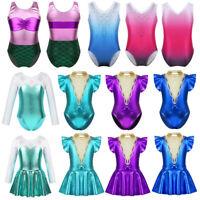 Kid Girl Ballet Dance Dress Gymanstics Metallic Leotards Fancy Dancewear Costume