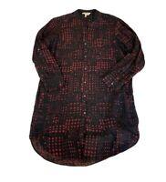 Etoile Isabel Marant Women Long Sleeve Red Black Print Button Shirt Dress Silk 2