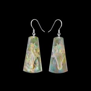 Carved MOP Horse Silver Earring HB805008