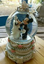 Disney Mickey Mouse Minnie Wedding Bride Groom Snowglobe Music Box Display