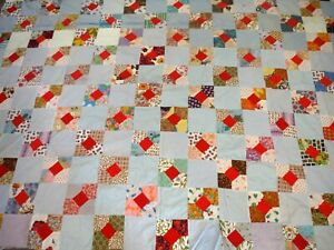 """Vintage Hand Pieced Colorful Quilt Top 60"""" x 80"""" P859"""