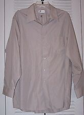 VanHeusen, Men's L/S, Light Tan, B/D, Wrinkle Free, Shirt,17-1/2 X 32-33