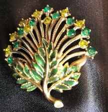 Vintage M. Lent Signed Rhinestone Pin Brooch Green and Yellow Stones