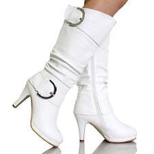 KNEE HIGH STILETTO WOMEN RIDDING HIGH HEEL WEDGE FUR COMBAT BUCKLE SHOE BOOT
