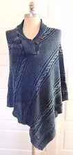 NWT Ralph Lauren Equestrian Shawl Indigo Cape Cable Knit Sweater Poncho Coat O/S