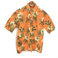 Pierre Cardin Orange Hawaiian Tropical Floral Print Button Front Shirt Men's M