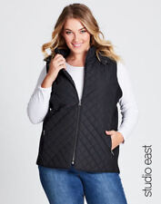 Autograph Studio East Black Quilted Coat Jacket Sleeveless Hooded Vest 14