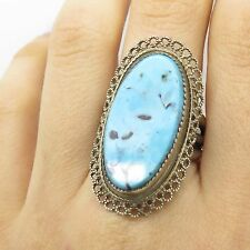 Vtg 925 Sterling Silver Large Real Turquoise Gemstone Handmade Ring Size 8 3/4