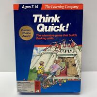 """Think Quick! Adventure Game The Learning Company IBM & Tandy, 3.5"""" & 5.25"""" Discs"""