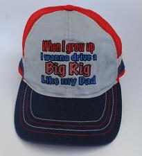 """When I grow up I wanna drive a Big Rig Like my Dad"" KID'S One Size Baseball Cap"