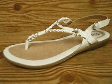 a908fc618ec2 B.O.C. Born White Silver Western Braided Ankle Strap Flip Flop Sandals 10   NEW