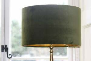 Lampshade, Olive Green Velvet with Brushed Gold or contrast Lining