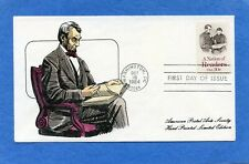 Sc #2106 Abraham Lincoln APAS Hand Tinted Cachet First Day Cover