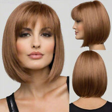 Women Natural Straight Bob Human Hair Full Lace Wig Lace Front Medium Brown Wig