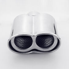 "2.25"" Inlet 7"" Long Twin Out Resonated Rolled 304 Stainless Steel Exhaust Tip"