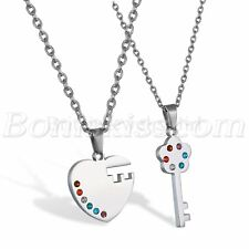 Couples Stainless Steel Heart Key Rainbow Lesbian Gay Pride Pendant Necklace