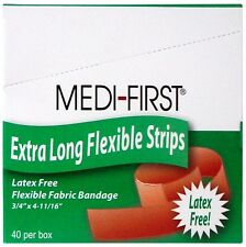"3/4"" x 4 11/16"" Cloth Bandages Extra Long Adhesive Bandaids 40 Strips Free Ship"