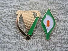 """Easter Lily & Irish Harp Badge 2 Pc Pin Set Ireland Tri/Color Lily New 1"""" Size"""