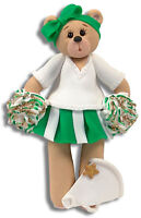 GREEN CHEERLEADER Bear  Personalized Christmas Ornament  HANDMADE POLYMER CLAY