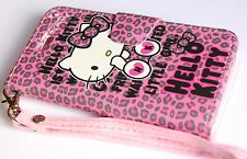iPhone 5C -HELLO KITTY LEATHER WALLET FLIP POUCH CASE COVER PINK LEOPARD CHEETAH