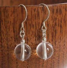 Solid 925 Sterling Silver Hook Earrings with round Rock Crystal Bead